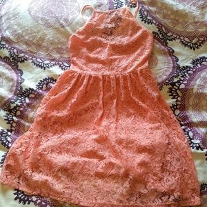 High neck pink lace spring dress